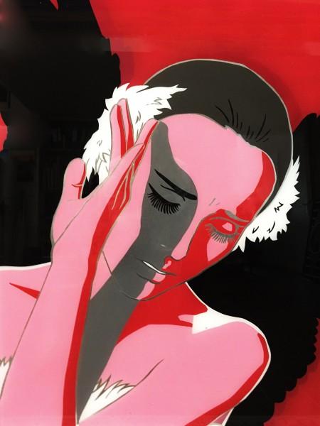 "Hinterglasmalerei Bild ""Black Swan"""