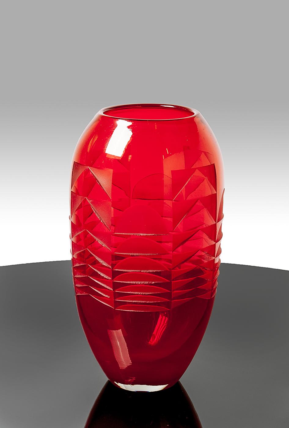 Art Deco Vase, rotes Glas Vase Art Deco, Josephs Art Interior